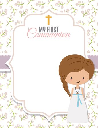 My first communion card. Girl with frame with space for text