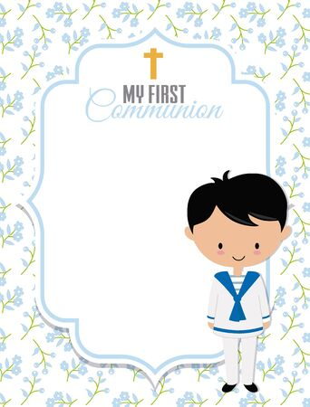 My first communion card. Boy with frame with space for text Stock fotó - 133552356