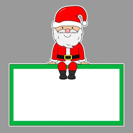 Santa Claus sitting in a blank frame. isolated vector
