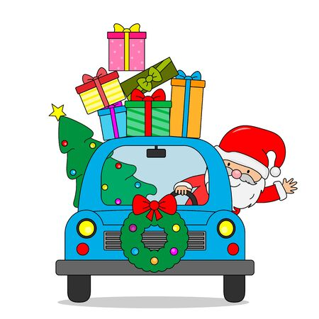 Santa Claus in car with lots of presents and Christmas tree. isolated vector