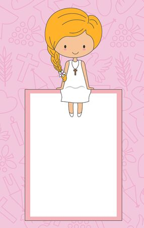My first communion card. Girl sitting in a frame