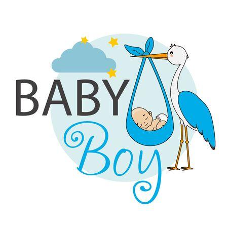 Baby shower card. Stork with baby boy Standard-Bild - 134733388