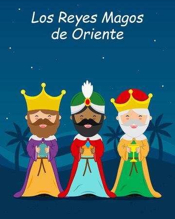 Card of the three wise men. Spanish text Three Wise Men