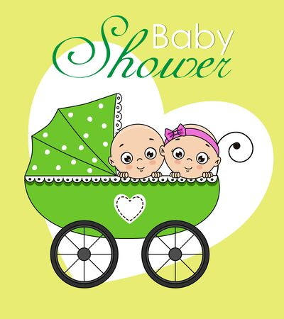 Twins in baby cart. Baby boy and baby girl
