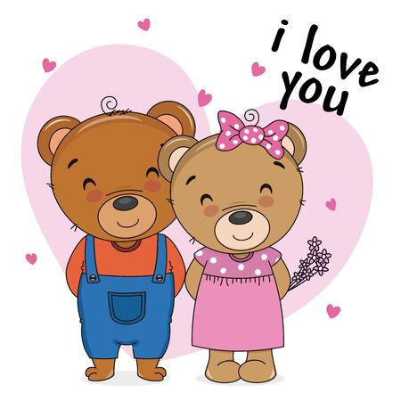 Two bears in love with hearts in the background Foto de archivo - 137897556