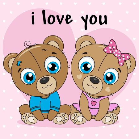 Two little bears girl and boy. Pink background with hearts Foto de archivo - 137897030