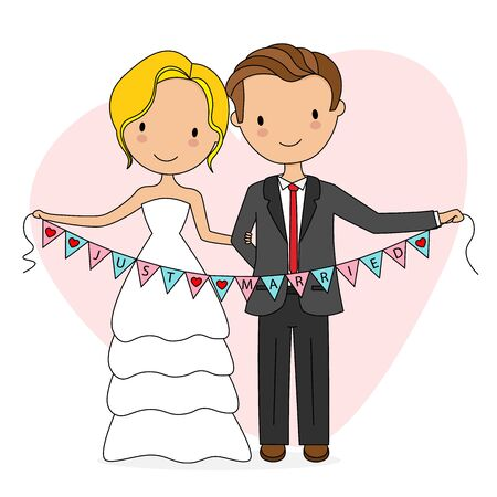 Wedding card. Bride and groom with newly married flags