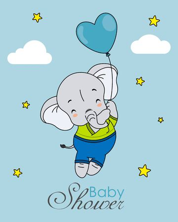 Baby boy shower card. Elephant flying with a balloon