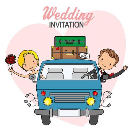 Tarjeta de boda. Novios en furgoneta