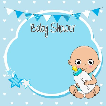 Baby shower card. Baby boy with bottle. Space for text Ilustrace