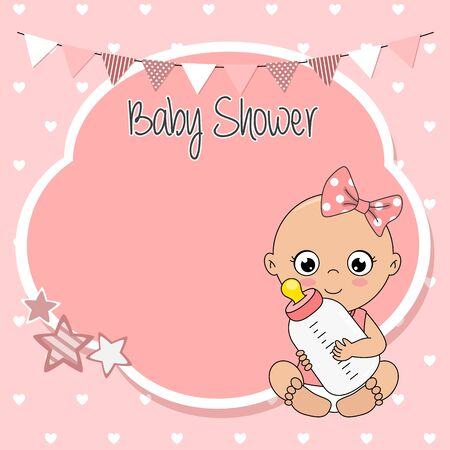 Baby shower card. Baby girl with bottle. Space for text