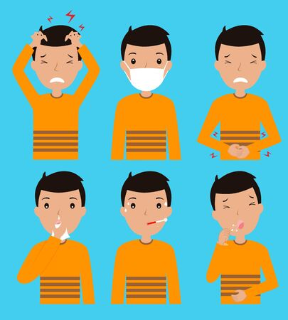 icons man with disease symptoms. Isolated vector  イラスト・ベクター素材
