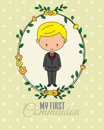First communion card. Boy inside flower frame