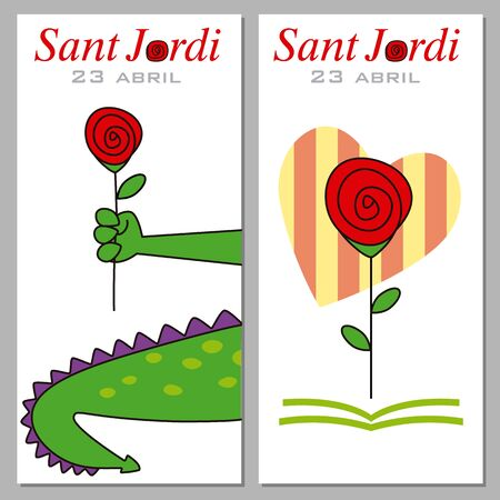 Sant Jordi. Catalonia traditional celebration. Two points from the book of Sant Jordi
