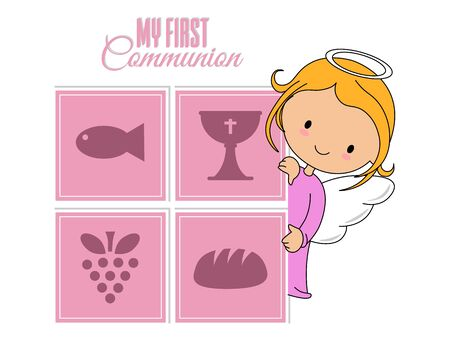 Communion or baptism card. Angel with religious icons. Isolated vector