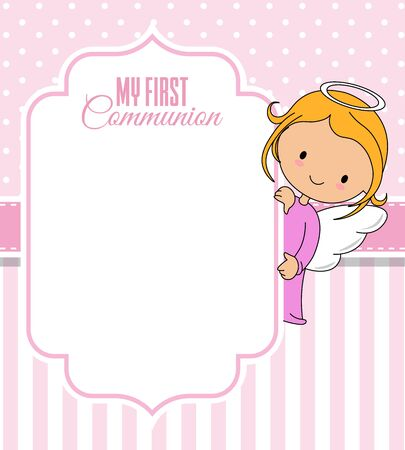 Communion or baptism card. Angel with frame. Space for text Illustration
