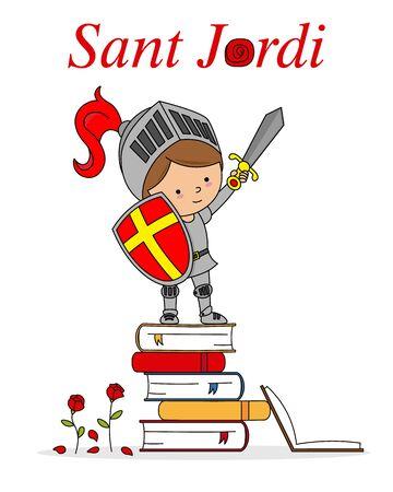 Sant Jordi traditional festival of Catalonia Spain. Warrior on top of books Vettoriali