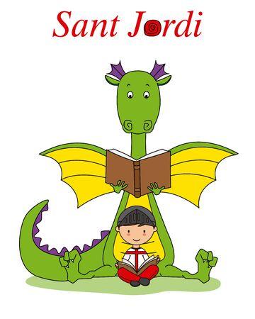 Sant Jordi traditional festival of Catalonia Spain. Warrior and dragon reading