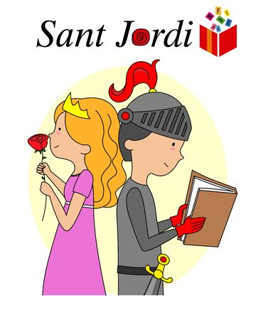 Sant Jordi traditional festival of Catalonia Spain. Princess with a rose and knight reading