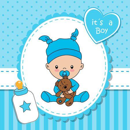 Baby shower card. Baby boy with teddy bear Иллюстрация