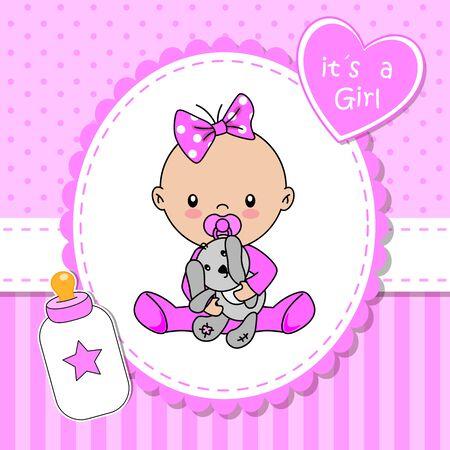 Baby shower card. Baby girl with teddy bear