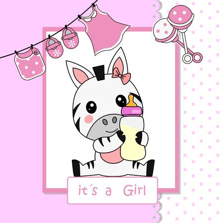 Baby girl shower card. Cute zebra with baby bottle