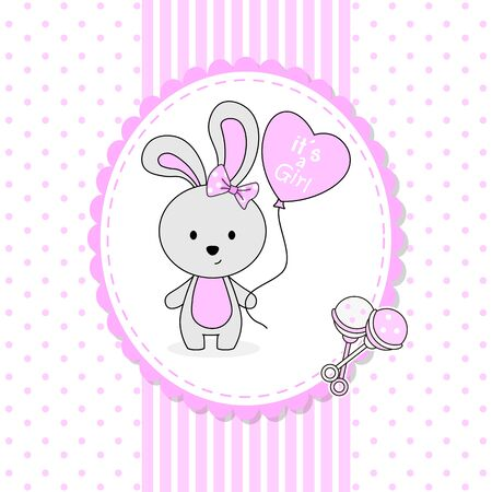 Baby girl shower card. Cute rabbit with heart shaped balloon