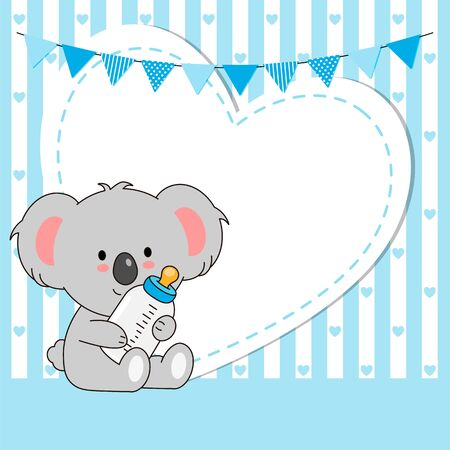 Baby boy shower card. Cute koala with blank space for text