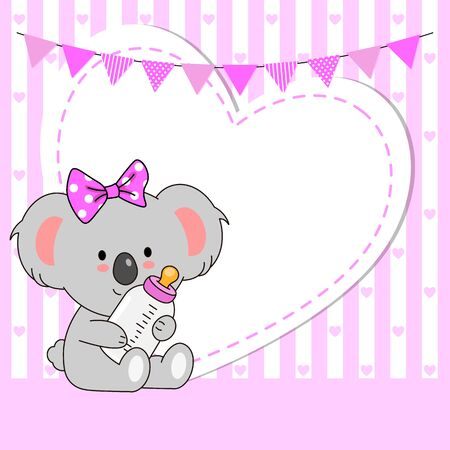 Baby girl shower card. Cute koala with blank space for text