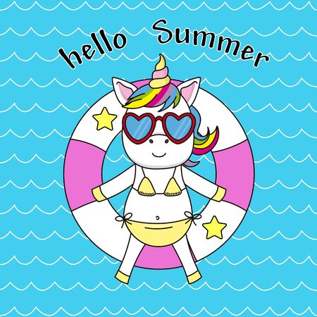 Happy summer card. Unicorn on top of a float basking in the sun