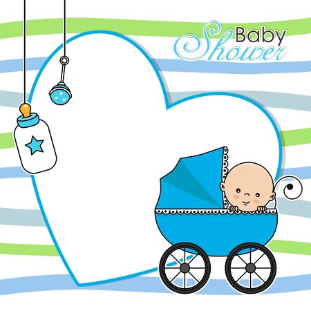 Baby shower card. Baby boy in baby car. Space for text Vettoriali