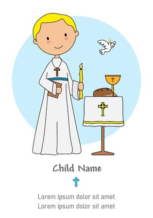 First communion card. Boy with a candle and a bible