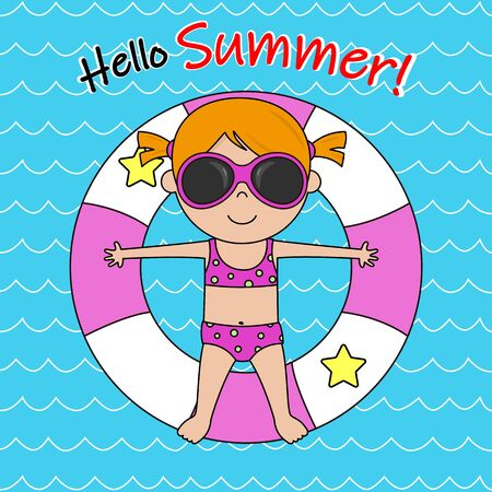 Happy summer card. Little girl sunbathing on top of a float