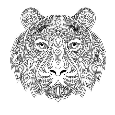 Tiger head coloring book illustration. Antistress coloring for adults. black and white lines. Print for t-shirts and coloring books.