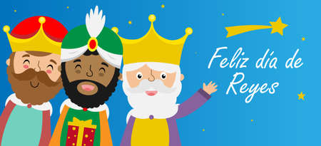 Card of the three wise men. Spanish text happy kings day