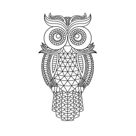 owl head coloring book illustration. Antistress coloring for adults. black and white lines. Print for t-shirts and coloring books.