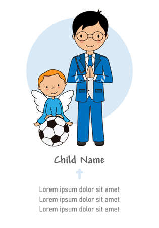 My first communion boy. Praying boy and angel on top of a soccer ball