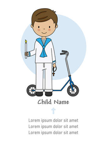 My first communion card. Boy with candle, crucifix and a scooter. Isolated vector