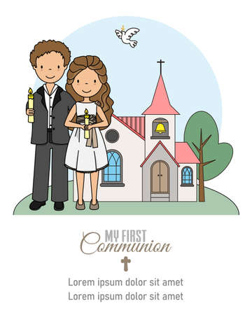 My first communion card. Girl and boy with candles in front of the church