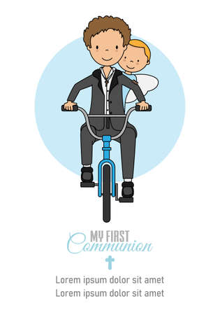 My first communion card. Boy and angel on bicycle