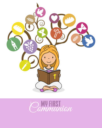 My first communion card. Girl reading the bible with a tree with religion icons behind Vector Illustratie
