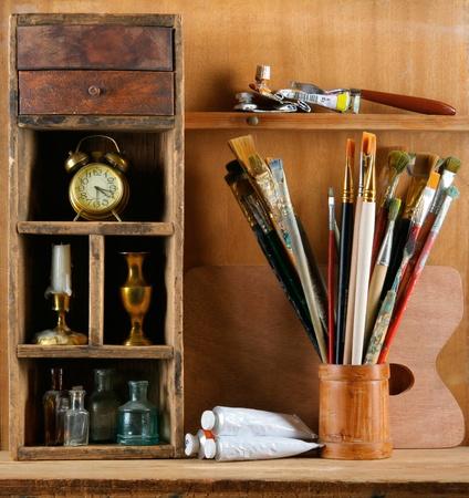 art studio: Still-life in studio of the artist