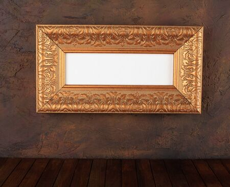 old  frames over the grunge wall background  photo