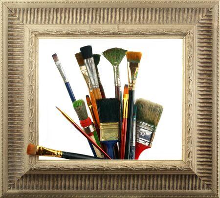 brush in the frame  Stock Photo