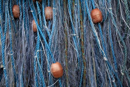 floats: Close-up of fishing nets with floats  Stock Photo