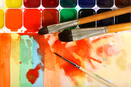 watercolor paints with brushes  Stock Photo