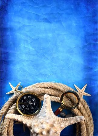 Vintage marine background Stock Photo