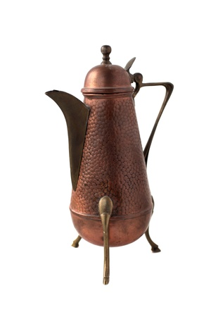 Vintage copper  teapot on white background photo