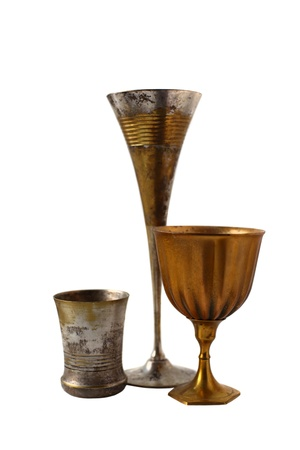goblet: Classic old goblets stands isolated on white background