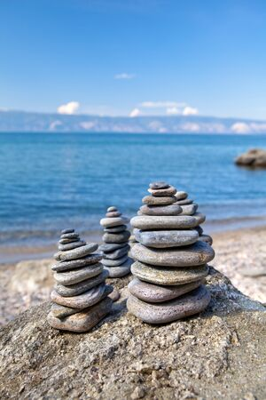 Stone composition on the beach.Lake Baikal.